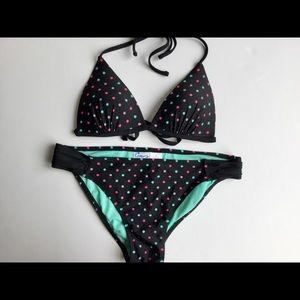 Polka dot bikini women's black padded 2 piece
